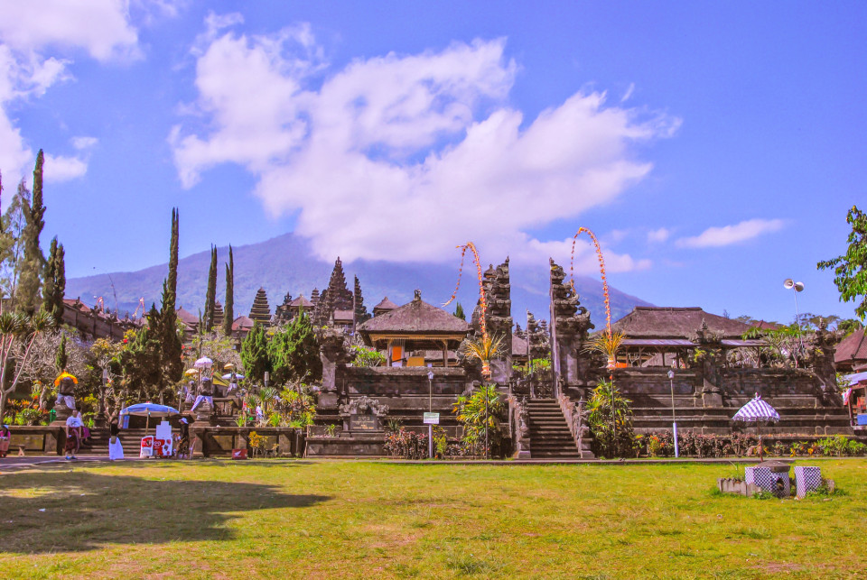 Pura Besakih temple complex with Mount Agung with its lenticular clouds in the background