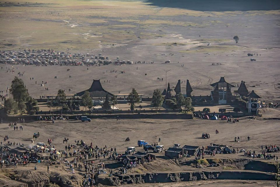 View of Pura Luhur Poten from the top of the Bromo crater