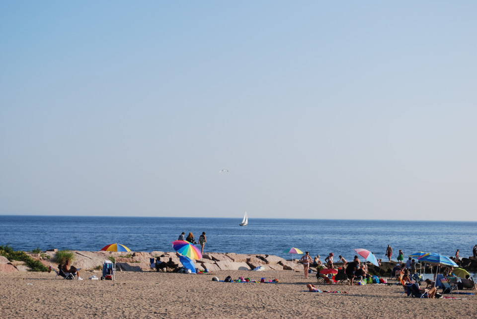 Hammanoset Beach, Connecticut, USA - Long Island Sound protects the beach from waves providing safety for kids