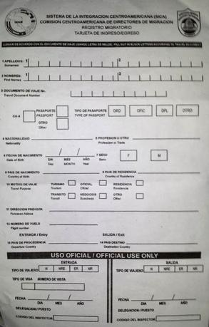 This is the entry/exit form common to both the countries.