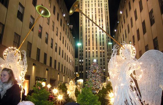 Rockefeller Center Christmas tree with the Rockefeller Center in the background
