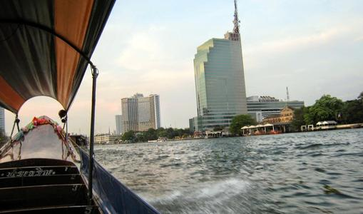 View of Bangkok from the Chao Phraya river boatride