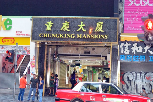 ChungKing Mansions with the touts waiting to hound the travelers
