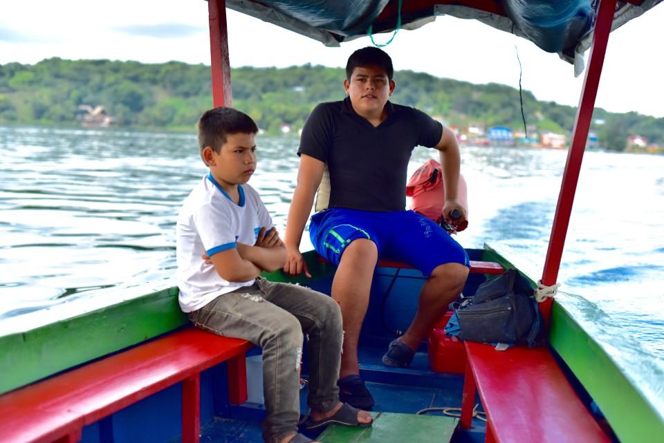Kids were captaining the boat showing us around the Peten Itza lake
