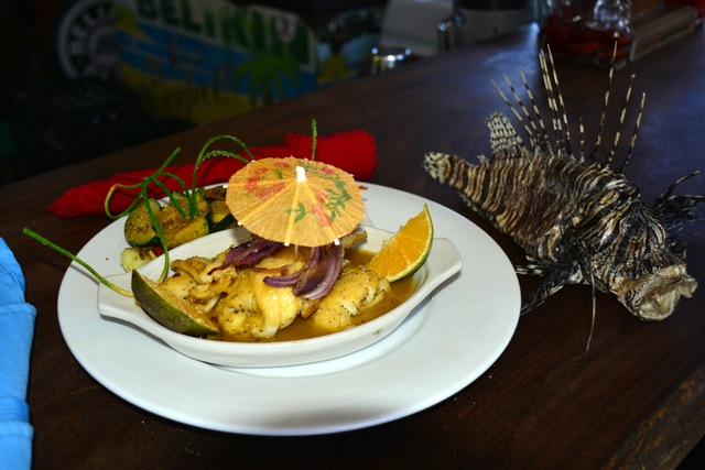 Award winning Lionfish dish at Pirate's Treasure restaurant and bar