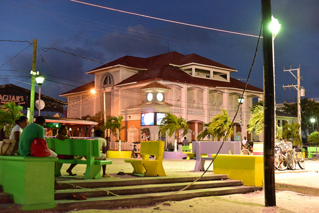 San Pedro city center at nighttime