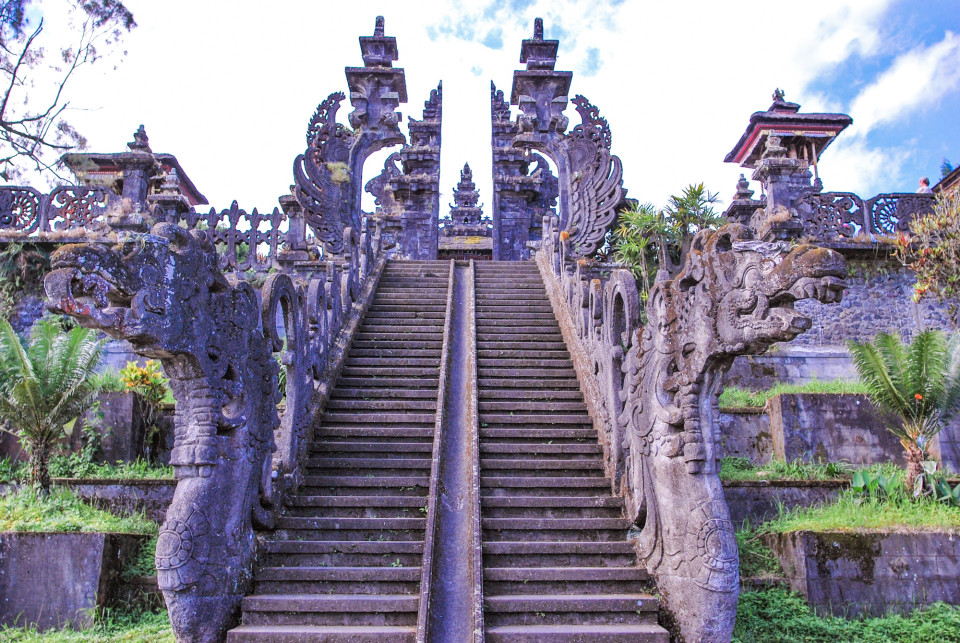 Top of Pura Besakih with the Naga Basuki Balustrades. Besakih name was derived from Naga Basuki,