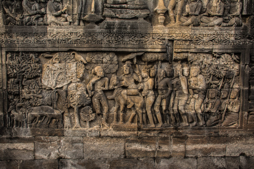 Bas reliefs in one of the 9 levels - Photo Credits: Hema Saran