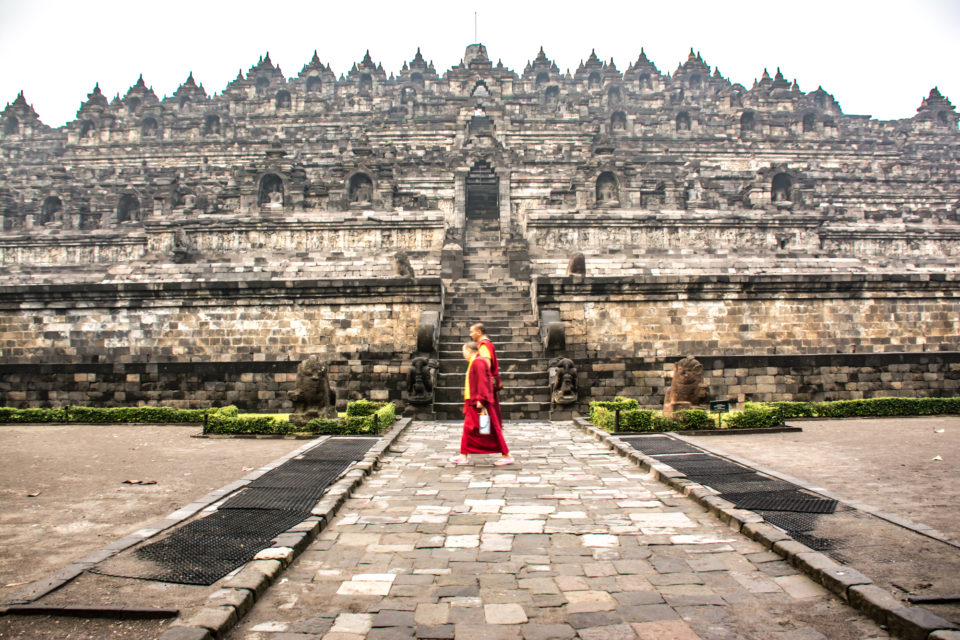 Buddhist monks circumambulating the temple - Photo Credits: Hema Saran