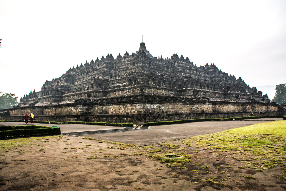 Massive Borobudur from a distance on a foggy morning – Photo Credits: Hema Saran.