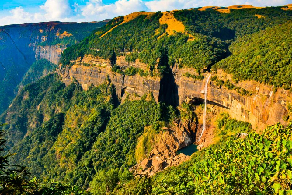 Nohkalikai Falls from a distance. It is the tallest plunge waterfall in India with a height from top to bottom of 1115 Ft.