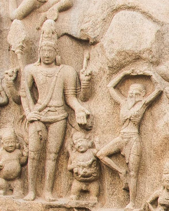Shiva giving Pasupatham Astram to the skeletal Arjuna in a Penance